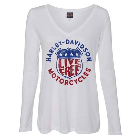 Harley-Davidson Women's Distressed Live Free Long Sleeve V-Neck Shirt - White