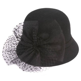 Womens Vintage Cloche Hat w/ Bow and Veil