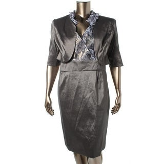 Le Bos Womens Metallic Sleeveless Dress With Jacket - 12