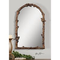 "37""H Brown/Golden Branch and Bird Detailed Hanging Arched Top Wall Mirror - Gold"