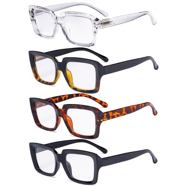 Eyekepper 4 Pack Ladies Reading Glasses Square Reader Eyeglasses. Opens flyout.