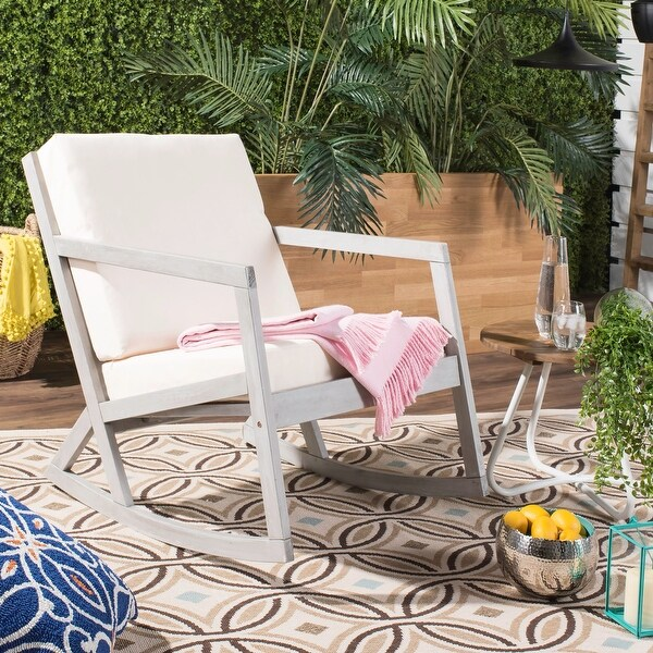 Safavieh Outdoor Living Vernon Grey/ Beige Contemporary Rocking Chair. Opens flyout.