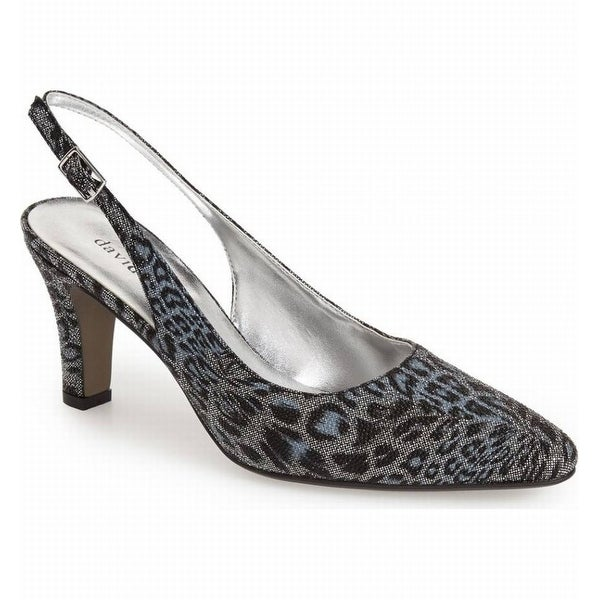David Tate NEW Black Women's Shoes Size 7M Lace Leopard Slingback