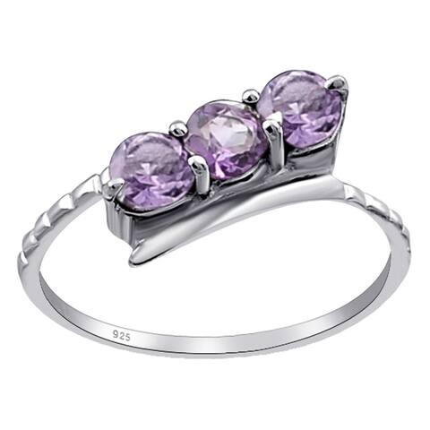 Garnet, Citrine, Amethyst Sterling Silver Round 3-Stone Ring by Orchid Jewelry
