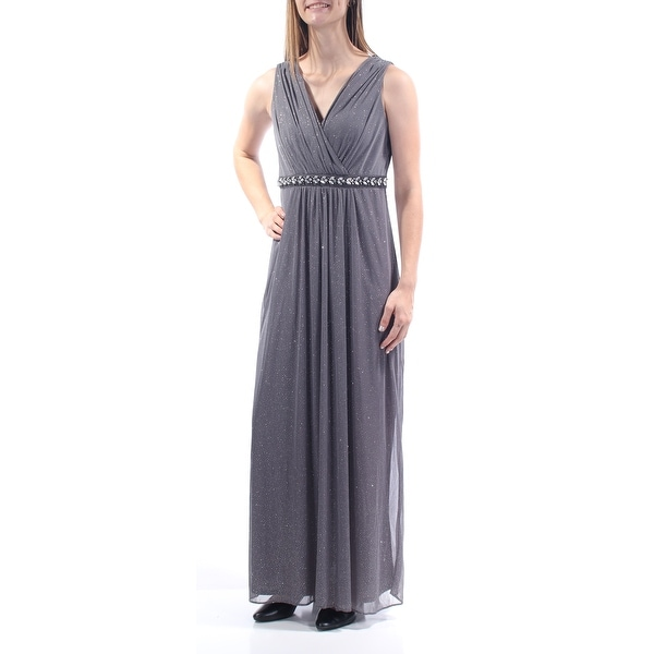 MSK Womens Silver Glitter Beaded Sleeveless V Neck Maxi Empire Waist Evening Dress Size: 6