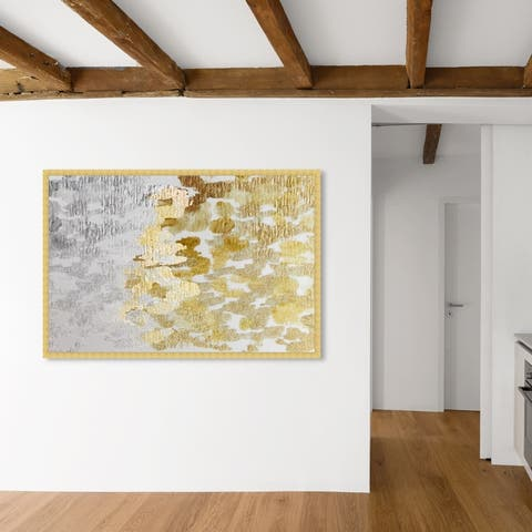 Oliver Gal 'Gold vs Platinum' Abstract Framed Wall Art Prints Paint - Gold, Gray