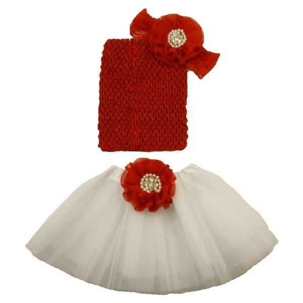 06a7a91faf Shop Girls Red White Pearl Flower Tutu Skirt Lace Headband Set 0-8Y - Free  Shipping On Orders Over $45 - Overstock - 18164749