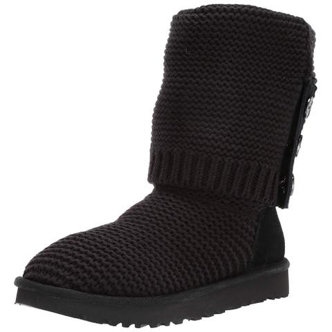 Ugg Women's Shoes Purl Cardy Knit Fabric Closed Toe Mid-Calf Cold Weather Boots