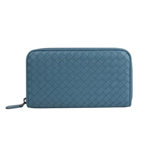 Bottega Veneta Women's Woven Zip Around Aqua Blue Leather Wallet 132358 4444 - One size