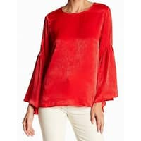 Ro & De Women's Medium Lace-Up Back Satin Bell-Sleeve Blouse