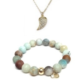 Green Amazonite Bracelet & CZ Horn Gold Charm Necklace Set