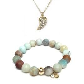 Green Amazonite Bracelet & CZ Horn Gold Charm Necklace Set
