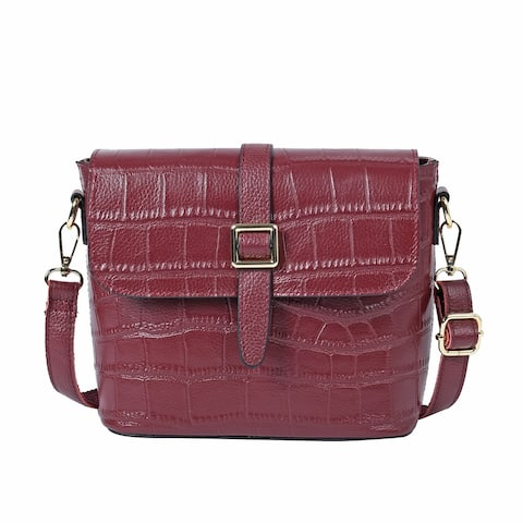 Shop LC Embossed Leather Crossbody Bag with Shoulder Strap - 7.87x3.74x7.09 inches
