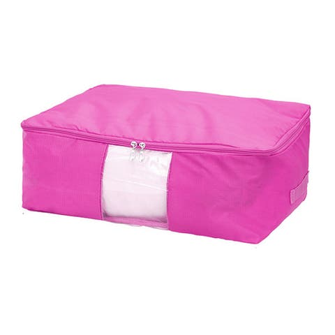 Blanket Pillows Quilts Clothes Bedding Storage Bag Organizer Fuchsia 58x40x22cm
