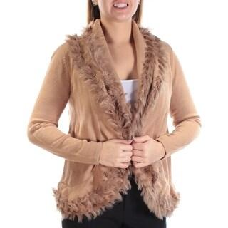Womens Brown Long Sleeve Open Sweater Size L