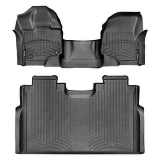 WeatherTech 447931-446974 Black Front & Rear FloorLiner Over the Hump: Ford F-150 2015 + , Super Crew, 1st row bench