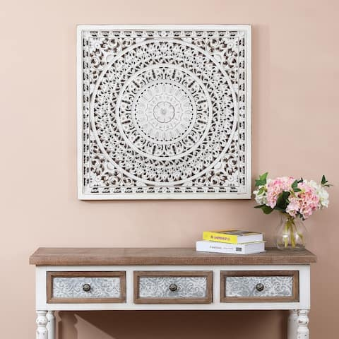 Square Decorative Carved Floral-Patterned Wall Panel