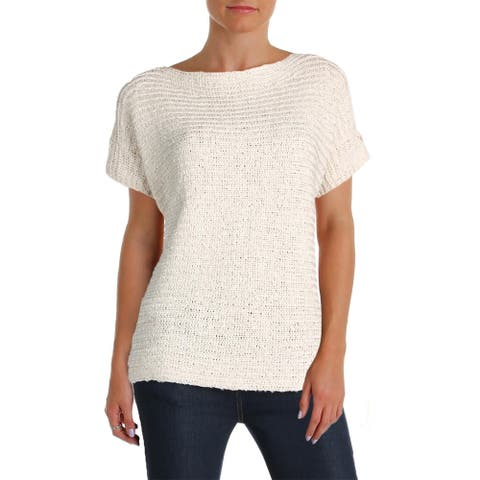 Lauren Ralph Lauren Womens Darbye Pullover Sweater Tape Crochet Short Sleeves