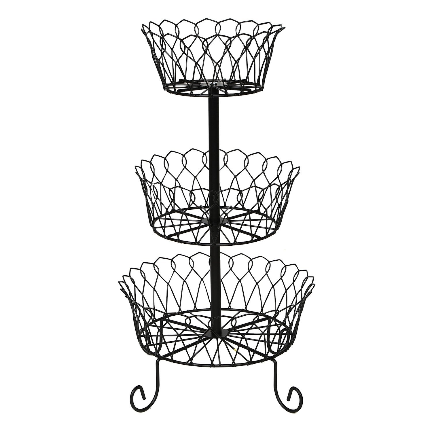 Home District 3 Tier Iron Fruit Basket Stand Footed Wire Graduated Food Storage Bowls For Countertop And Dining Table Metal