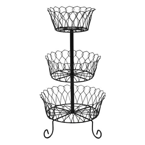 Home District 3 Tier Iron Fruit Basket Stand - Footed Wire Graduated Food Storage Bowls for Countertop and Dining Table - Metal