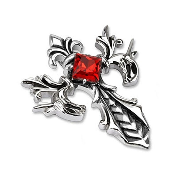 Fleur De Lis Cross with Ruby Diamond CZ Stainless Steel Pendant (37 mm Width)