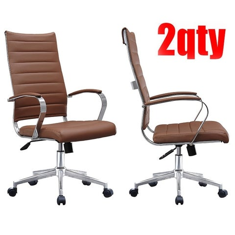 2xhome Set of Two (2) Modern Brown High Back Office Chair Ribbed PU Leather Swivel Tilt Computer Desk Cushion Seat Boss
