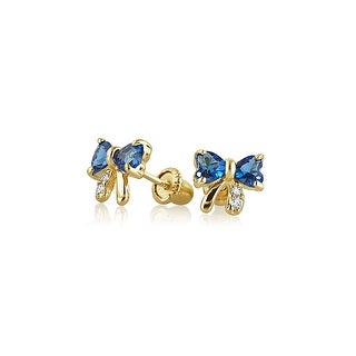 Tiny Royal Blue Ribbon Bow Stud Earrings Cubic Zirconia Imitation Sapphire CZ Real 14K Yellow Gold Safety Screwback