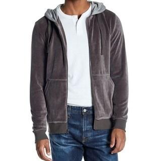 WELLINGTON Gray Mens Size Small S Full Zip Velour Hooded Sweater