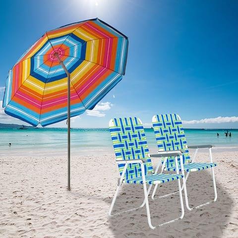 Folding Beach Chair Blue Strip