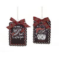 Set of 6 Black Christmas Cookie Glass Ornament with Red Plaid Bow and Dots 4""