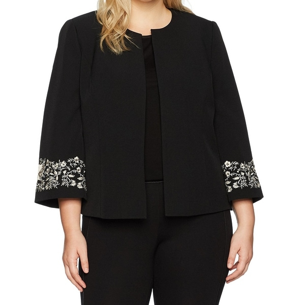 Kasper Black Womens Size 16W Plus Embroidered Open-Front Jacket