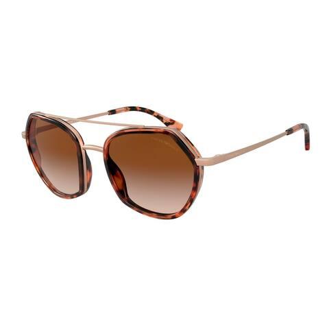 Emporio Armani EA2098 300413 53 Matte Rose Gold & Red Havana Woman Irregular Sunglasses