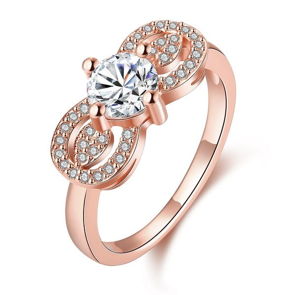 Double Rose Gold Crystal Loop Ring