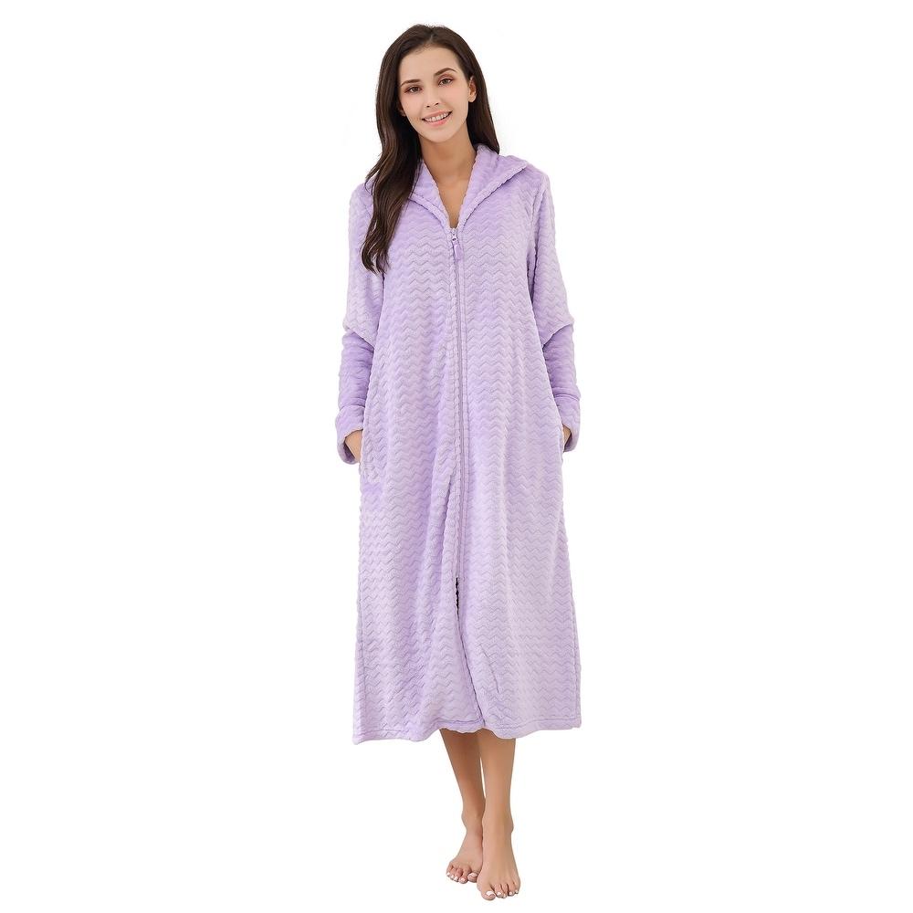 Richie House Womens Soft & Warm Lightweight Fleece Bathrobe