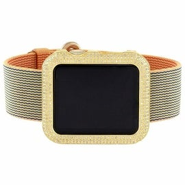 Mens Diamond Apple Watch 40mm Gold/Royal Blue Woven Nylon Band 3.0 CT IOS Custom