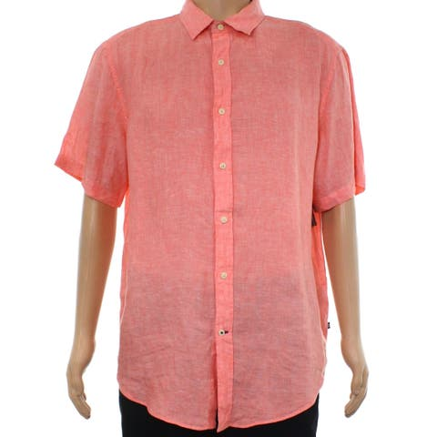 Nautica Pink Mens Size Large L Button Down Short-Sleeve Shirt