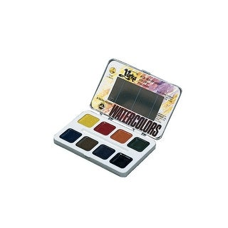 Yarka Non-Toxic Semi-Moist Students Watercolor Paint Set with Brush, Plastic Full Pan, Assorted Brilliant Color, Set of 8