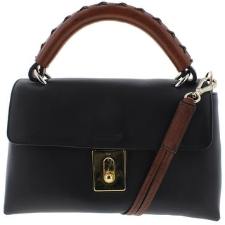 Chloe Womens Leather Flap Satchel Handbag - Black - Medium