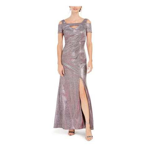 NIGHTWAY Womens Silver Full-Length Fit + Flare Formal Dress Size 10