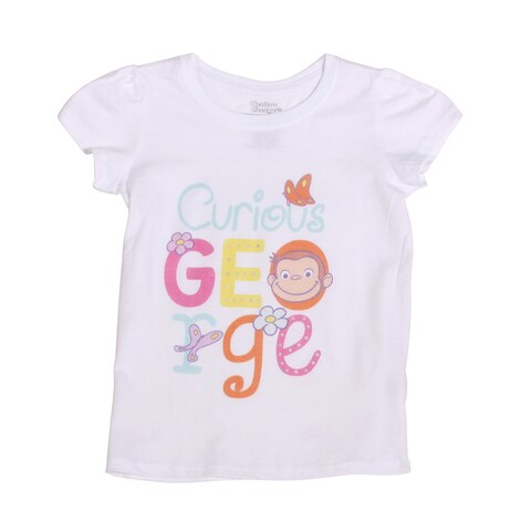 Curious George Toddlers Short Sleeve T-Shirt, White - 5t