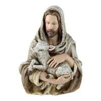 "6.75"" Joseph's Studio Jesus Holding a Lamb Religious Table Top Bust Decoration - Brown"