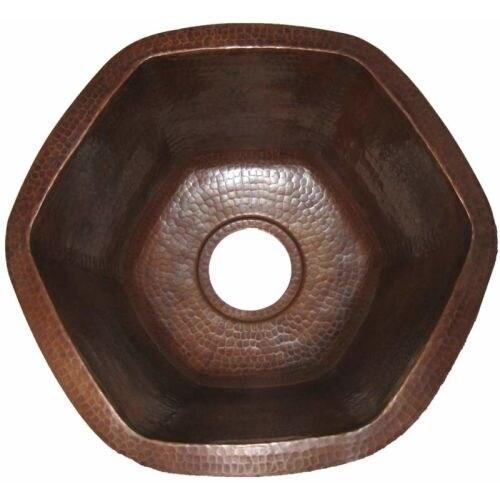 "Miseno MC-NA400 Hexagon 16"" Copper Drop-In or Undermount Bar Sink"