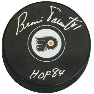 Bernie Parent Signed Philadelphia Flyers Logo Hockey Puck with HOF84