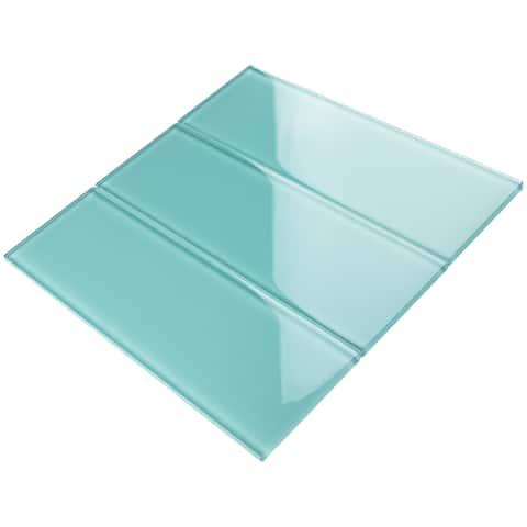 """TileGen. 4"""" x 12"""" Glass Subway Tile in Ocean Blue Wall Tile (30 tiles/10sqft.)"""