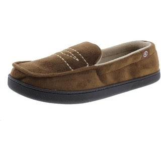 Isotoner Mens Micro Suede Memory Foam Moccasin Slippers - L