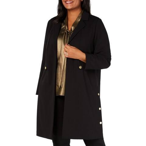 Kasper Women's Open Front Coat Deep Black Size 2X Plus Peak-Lapel