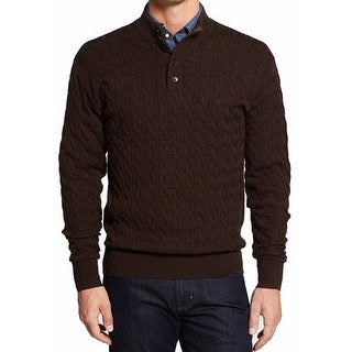 Peter Millar NEW Brown Mens 2XL Cable Knit Mock Neck Polo Wool Sweater