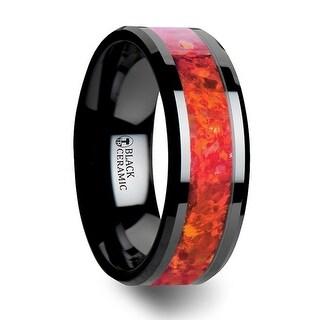 NOVA Black Ceramic Wedding Band with Beveled Edges and Red Opal Inlay