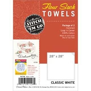 "White - Stitch 'Em Up Flour Sack Towels 28""X28"" 2/Pkg"