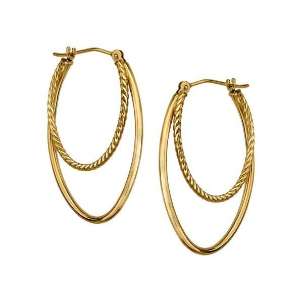 Just Gold Double Oval Hoop Earrings in 14K Gold